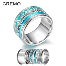 Cremo Women Stainless Steel Rings Set Interchangeable Rotation Weddding Band Ring Filled Accessories Innter Femme