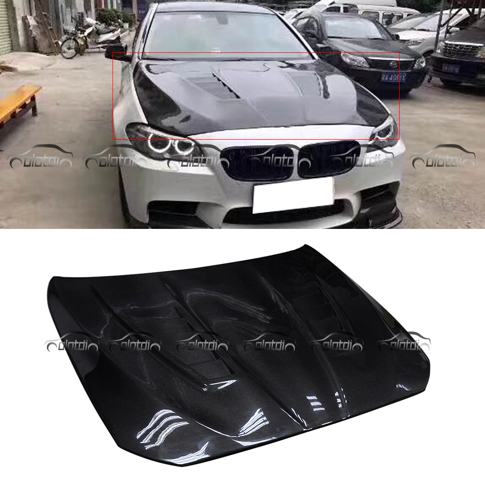 H1 Style Carbon Fiber Hood Engine Cover Bonnet For BMW 5 Series F10 F11 OLOTDI Car Styling