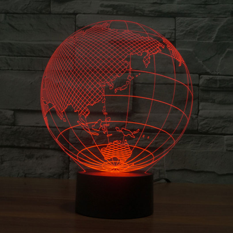 Creative 3D Optical Illusion Led Lamp Earth Globe 7 Color Changing Millenium Falco Abajur Night Lights For Home Decor Baby In LED From