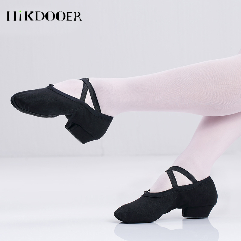 Female Ballet Shoes Canvas Jazz Latin Salsa Dance Shoes Middle Heel Women Teachers Cat Claw Dancing Shoes