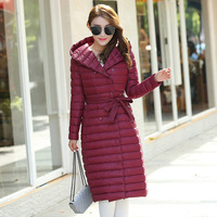 Plaid Quilted Down Portable Women Long Parkas Hooded Sashes Bow Tie Solid Slim Female Jacket Coats 2018 Winter Women's Warm Coat