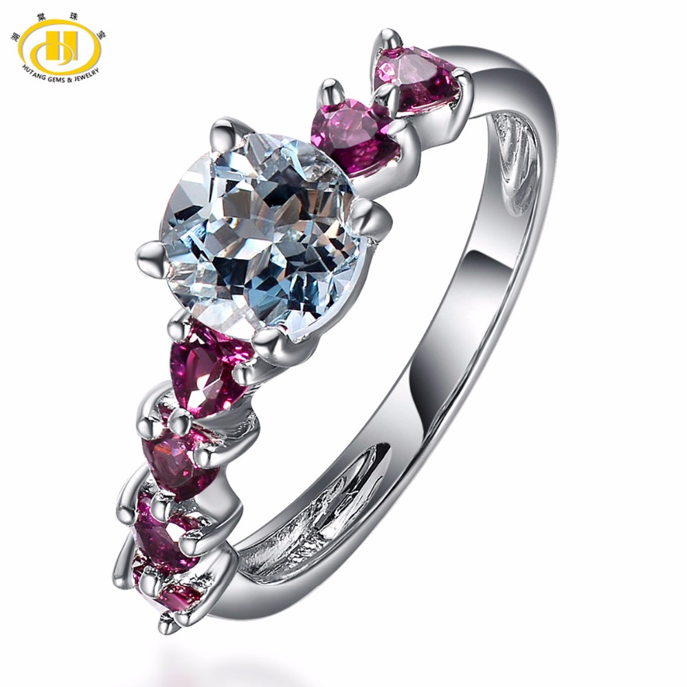 Hutang Hiphop Natural Aquamarine & Rhodolite Gemstone Solid 925 Sterling Silver Ring Womens Fine Jewelry Romantic Wedding Rings