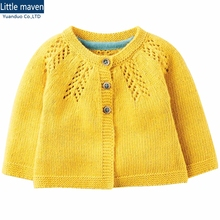 1-6year baby girl sweaters for kids knitted sweater Autumn girls cardigan Solid yellow baby wool sweater for girls clothing