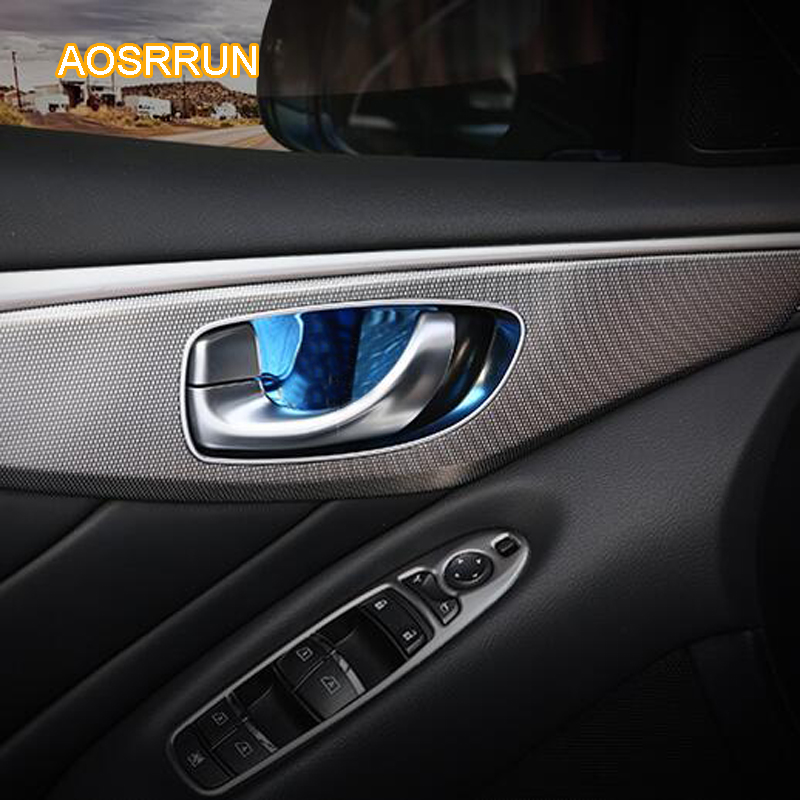 AOSRRUN The inner door bowl of stainless steel is decorated with door bowl Car accessories For Infiniti Q50 Q50L QX60 JX35 Q70L