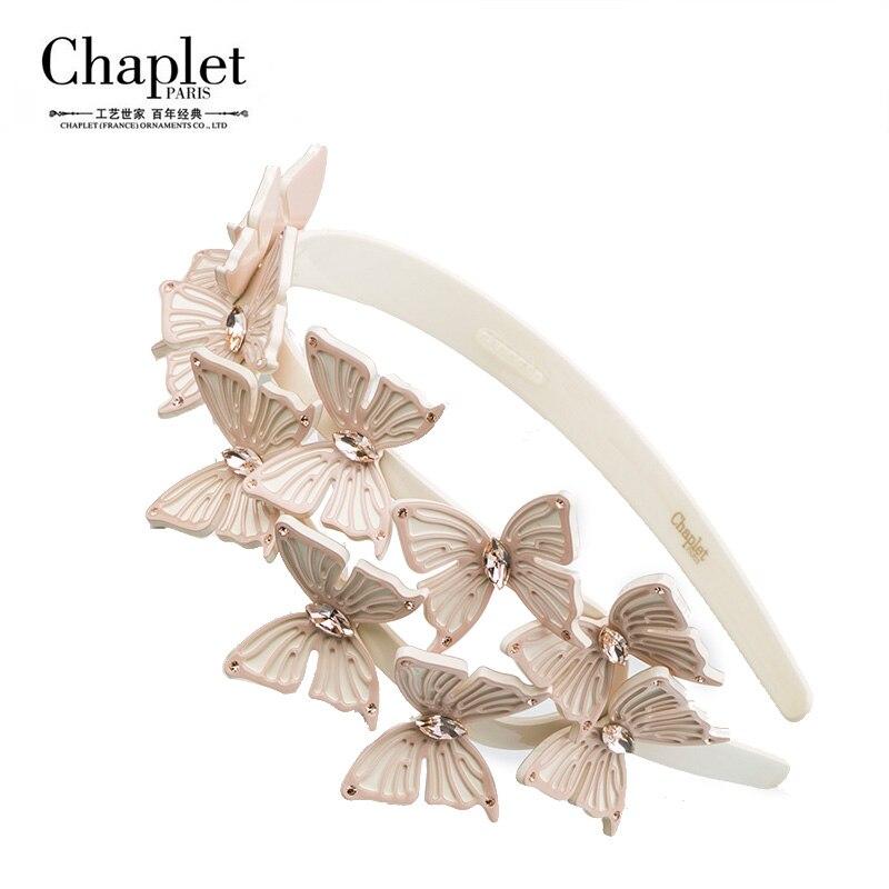 Chaplet 2016 High Quality Fashion Hair Jewelry Ten butterfly Hairband Hair Accessories Women Rhinestone Headband Free