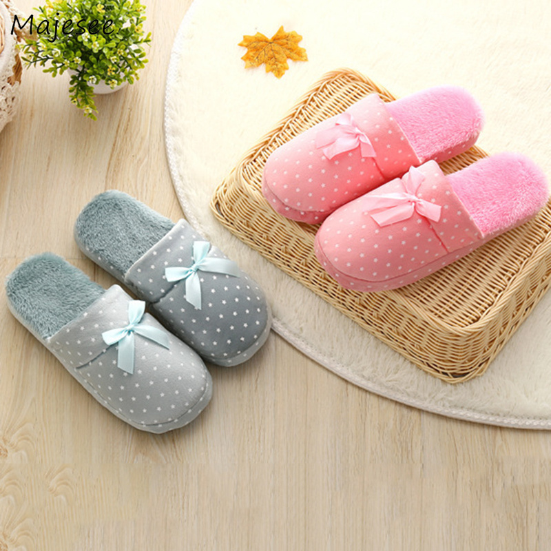 Winter Slippers Women Sweet Bow Simple Printed Korean Style Womens Bedroom Slipper Non Slip Leisure Shoes Flat With Chic Female Slippers Aliexpress