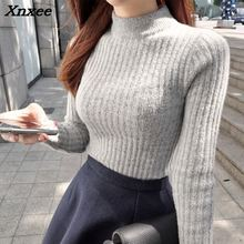 2018 new Sweater shirt sleeved Turtleneck Girl warm winter slim female half thick turtleneck Xnxee