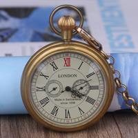 Classic Collectible Antique Old Copper Mechanical Pocket Watch FOB Chain Hand Winding Roman numerals 12/24 Hours Vintage Clock