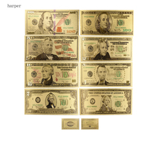 ФОТО new best price for full set 8pcs usa $1-100 dollar gold banknote colorful world money for souvenirs, golden bank notes drop ship