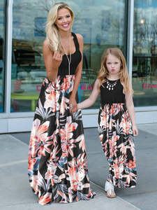 Daughter Dress Birthday-Dresses Mom Holiday Family Matching Baby-Girls Mommy Beach Me