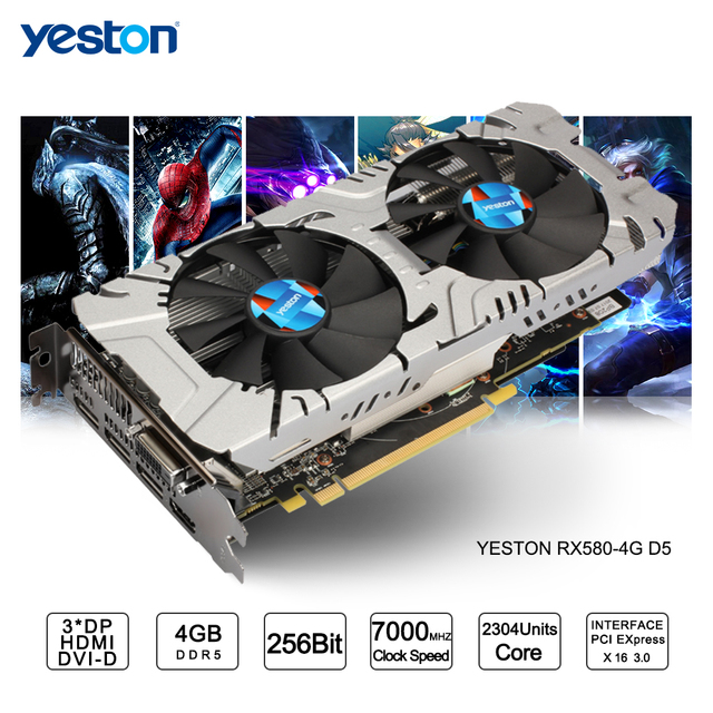 US $249 73 10% OFF|Yeston Radeon RX 580 GPU 4GB GDDR5 256 bit Gaming  Desktop computer PC Video Graphics Cards support DVI HDMI-in Graphics Cards  from