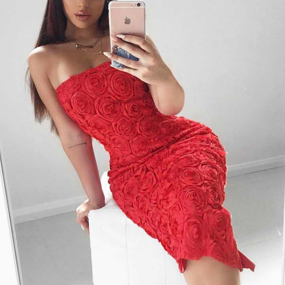 Tosheiny 2019 Women Sexy Slash Neck Off Shoulder Backless Split Flower Dresses Elegant Mini Bodycon Dress