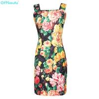 QYFCIOUFU New 2019 Summer Spaghetti Strap Dress High Fashion Runway Dress Sleeveless Floral Print Short Elegant