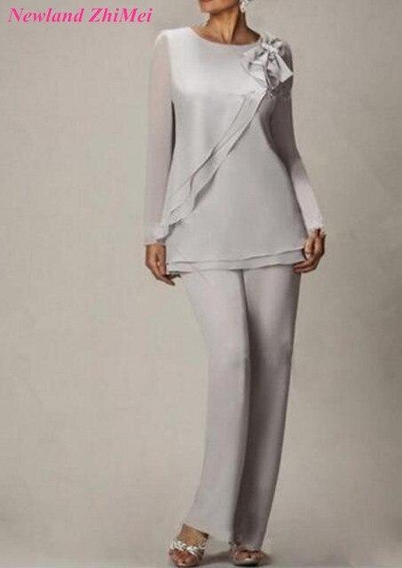 323ece048d4f Vintage Mousseline de Soie Mère de la Mariée Pantalon Costumes Pour De  Mariage De Charme Femme