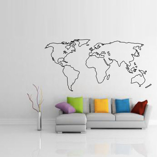 Buckoo hot wall stickers large world map wall sticker home decor buckoo hot wall stickers large world map wall sticker home decor living room removable map outline gumiabroncs Image collections