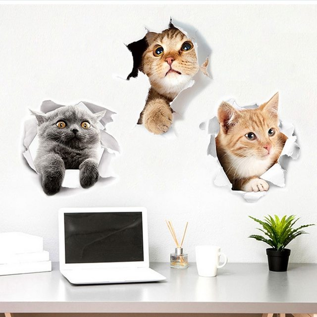 Hoomall 3D Wall Sticker Cute Cat Dog Toilet Living Room Home Decor Kitchen Waterproof Refreigter Poster Wall Stickers Decor