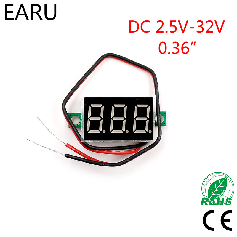 Red LED Display Mini Digital 4.5v-30v Voltmeter Tester Voltage Panel Meter For Electromobile Motorcycle Car Blue Green Hot Sale