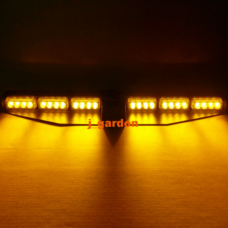 2 x 12 LED 3W Car Truck Emergency Beacon Light Exclusive Split Visor Deck Dash Hazard Strobe Warning Amber LightBar