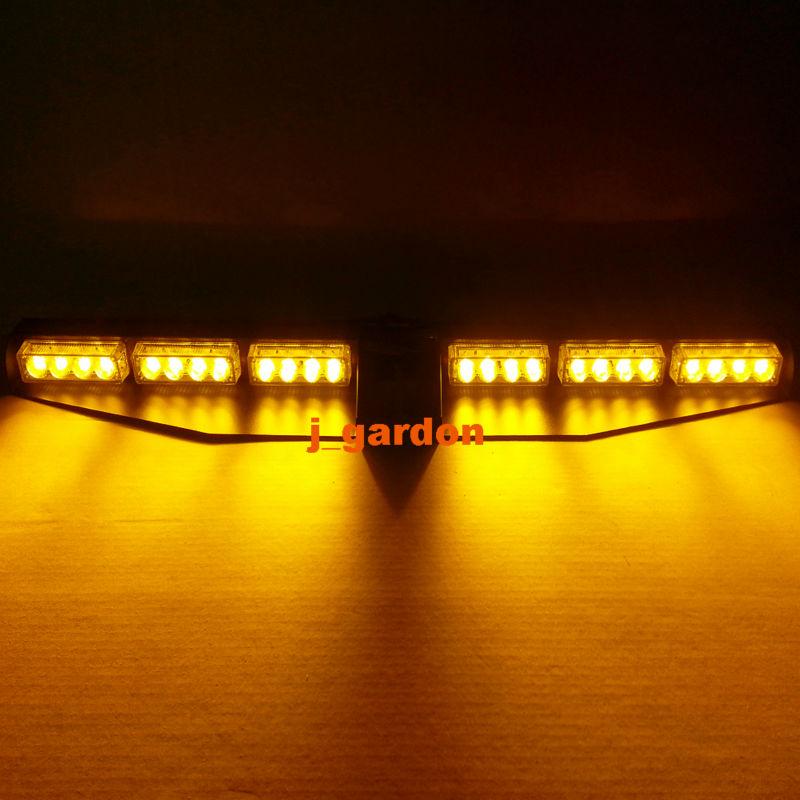 2 x 12 LED 3W Car Truck Emergency Beacon Light Exclusive Split Visor Deck Dash Hazard Strobe Warning Amber LightBar