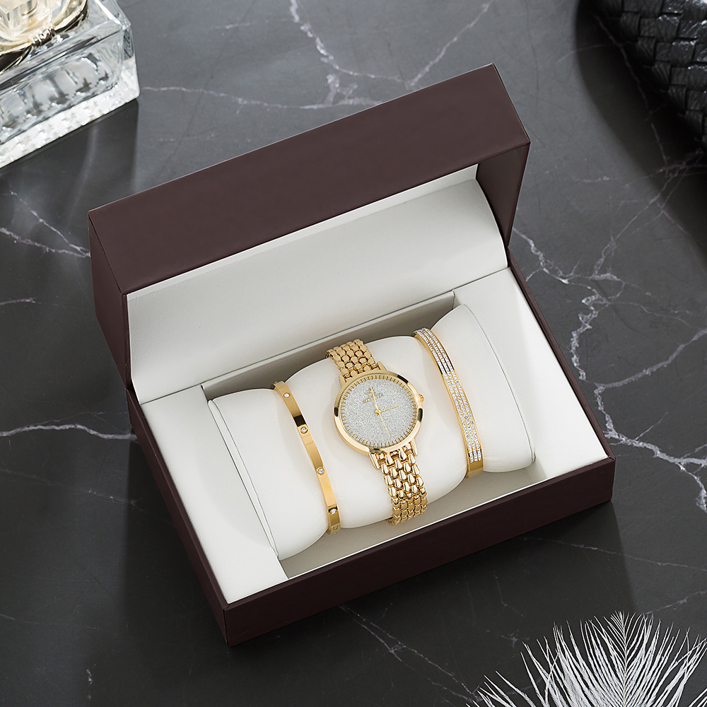 2019 Luxury Watch Sets Women's  Gold Wristwatches With Stainless Steel Bracelet Fashion Diamond Gift Box Set Free Shipping Top
