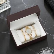 2019 יוקרה שעון סטי נשים של זהב שעוני יד עם נירוסטה צמיד אופנה יהלומים אריזת מתנה להגדיר משלוח חינם למעלה