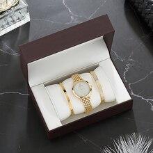Ensemble de montres de luxe pour femmes, accessoires de montre bracelet en or, avec bracelet en acier inoxydable, à la mode, coffret cadeau, livraison gratuite, collection 2019