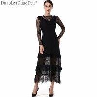DuaoLouDuaoDou Trang Phục thiết kế Ban Đầu Mùa Xuân Mùa thu dài tay dresses cao phụ nữ chất lượng Hollow ren khâu Slim dress S-XL