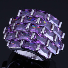 Superior Big Rectangle Purple Cubic Zirconia 925 Sterling Silver Ring For Women V0540