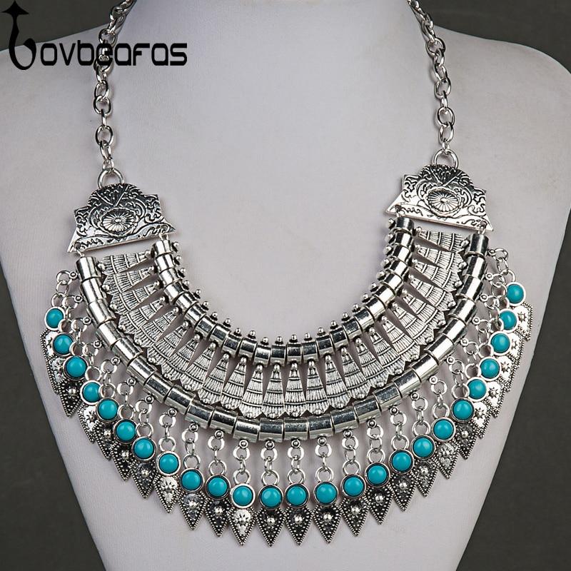 LOVBEAFAS Fashion Bohemian Choker Collar Maxi Necklaces Women Drop Tassel Vintage Statement Kolye Colar Collier Femme