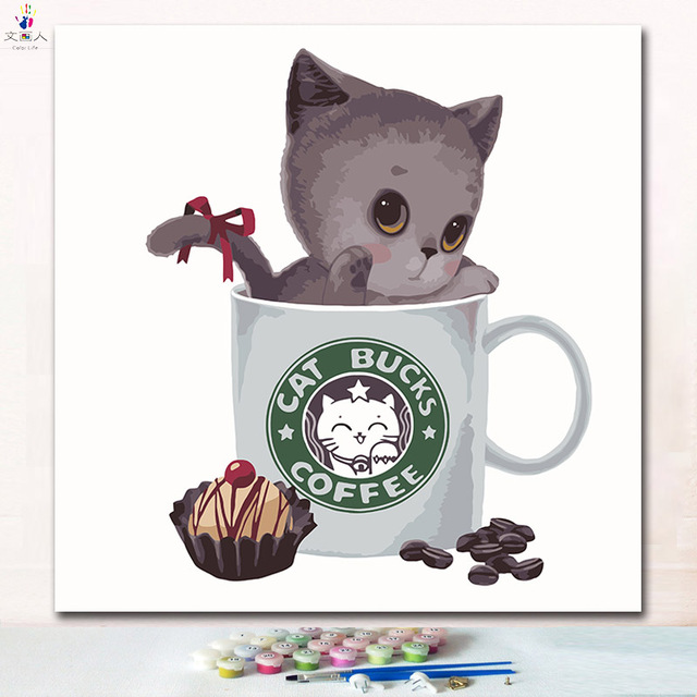 The Cut Cat In Coffee Cup Painting Pictures By Numbers With Kits
