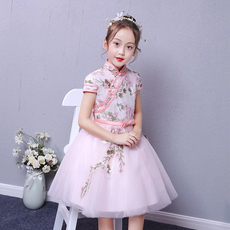 Popular Chinese Wind Traditional Cheongsam Mesh Dress For Children Girls Kids Pink Color Birthday Party Princess Flowers Dress Popular Chinese Wind Traditional Cheongsam Mesh Dress For Children Girls Kids Pink Color Birthday Party Princess Flowers Dress
