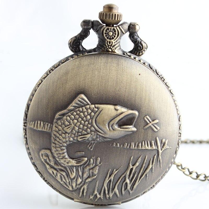 Pescados Encantadores del Bronce de Steampunk Reloj de Bolsillo Collar Colgante de Joyería de Las Mujeres Regalos