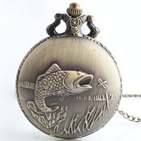 Vintage Bronze Steampunk Lovely Fish Pocket Watch Necklace Pendant Women Jewelry Gifts