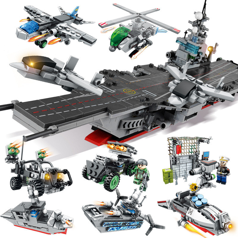 836PCS 8 IN 1 Military Army Warship Model Compatible LegoINGs Building Blocks Helicopter Tank Bricks Kids Toys for Children836PCS 8 IN 1 Military Army Warship Model Compatible LegoINGs Building Blocks Helicopter Tank Bricks Kids Toys for Children