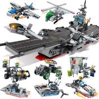 836PCS 8 IN 1 Military Army Warship Model Compatible LegoINGs Building Blocks Helicopter Tank Bricks Kids Toys for Children
