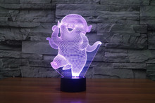 The new 7-color 3D USB creative Nightlight / LED lamp Cartoon Baby 135/ Free Shipping