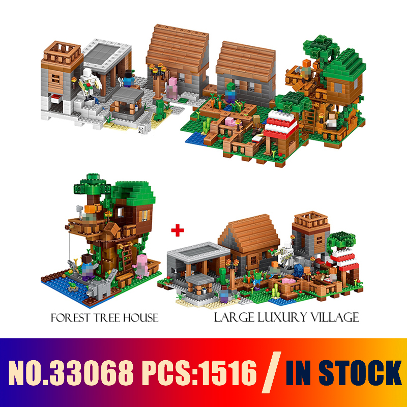 Compatible with lego Models building toy 33068 1516PCS My World The Village & Jungle Tree House Building Blocks toys & hobbies lepin 18003 my world series the jungle tree house model building blocks set compatible original 21125 mini toys for children