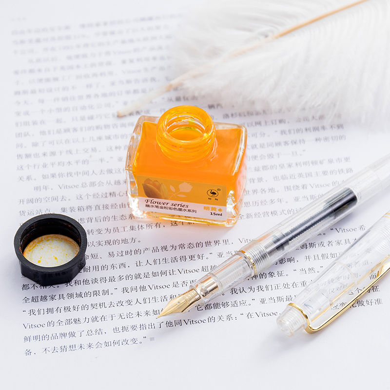 Image 3 - Ostrich color ink 12 color set of gold powder color ink for  dip pen with non carbon non blocking ink water-in Pen refill from Office & School Supplies