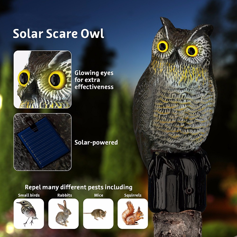 Realistisk Owl Scarecrow med blinkende øyne og skremmende lyd - Solar Powered og Motion Activated -Frightens Birds and Pest