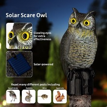 Realistic Owl Scarecrow with Flashing Eyes and Frightening Sound – Solar Powered and Motion Activated -Frightens Birds and Pest