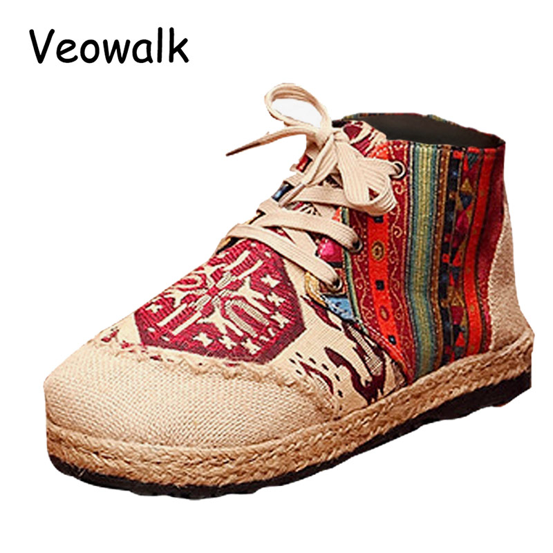 High Top Cotton Embroidered Women Casual Linen Flat Shoes Handmade Lace up Ladies Thick Hemp Soled Canvas Shoes Zapato Mujer women harajuku cartoon lace up wedges platform shoes 2015 casual shoes trifle thick soled graffiti flat shoes ladies creepers