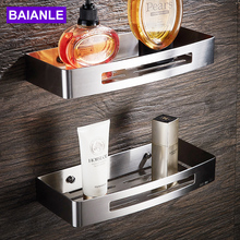 BAIANLE Bathroom Shelves Brushed Nickel Stainless Steel Rectangle Wall Mount Shower Caddy Rack Bath Accessories