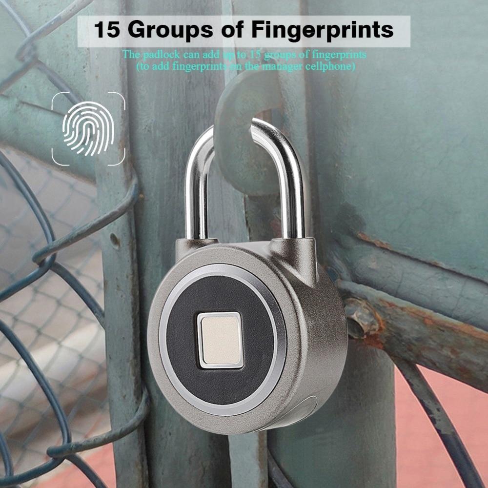 Fingerprint Smart Keyless Waterproof Bluetooth Lock APP Control Security Anti-Theft Padlock 2018 real padlock the new 2377 zinc alloy fingerprint app anti theft door lock black smart security locks wholesale and custom