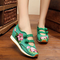 Fashion Lotus flower embroidery shoes women height increasing sole series wedge heels pumps shoes women loafers