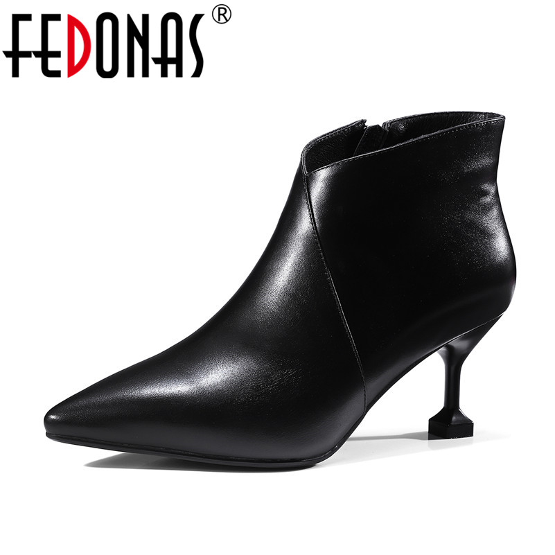 FEDONAS Brand Women Fashion Ankle Boots Sexy Thin Heels Genuine Leather Shoes Woman Soft Leather Short Martin Boots Women the 5 7 9 extrusion clamp rg6 rg11 pressing line clamp cable f head special tools