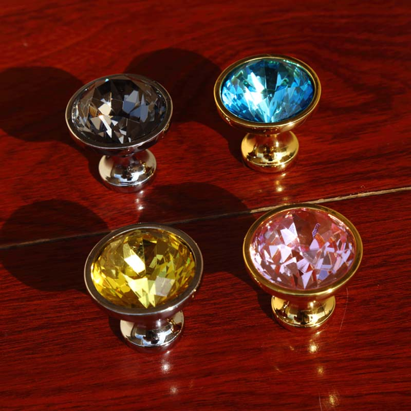 moden fashion glass crystal pink yellow blue gray drawer cabinet knobs pulls silver gold dresser kitchen cabinet door handles 32mm square red clear gray seablue glass crystal drawer cabinet knobs pulls silver chrome dresser kitchen cabinet door handles