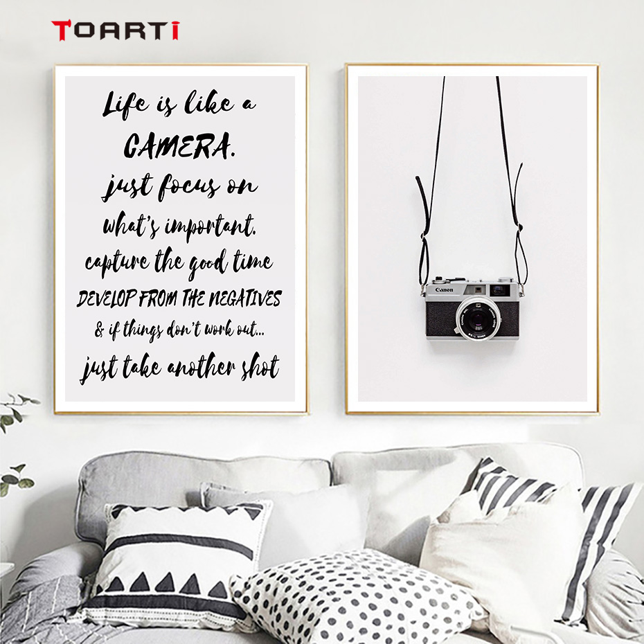 Image 2 - Black Camera Prints Posters Modern Life Quotes Canvas Painting Nordic Letters Wall Art Pictures For Living Room Home Decoration-in Painting & Calligraphy from Home & Garden
