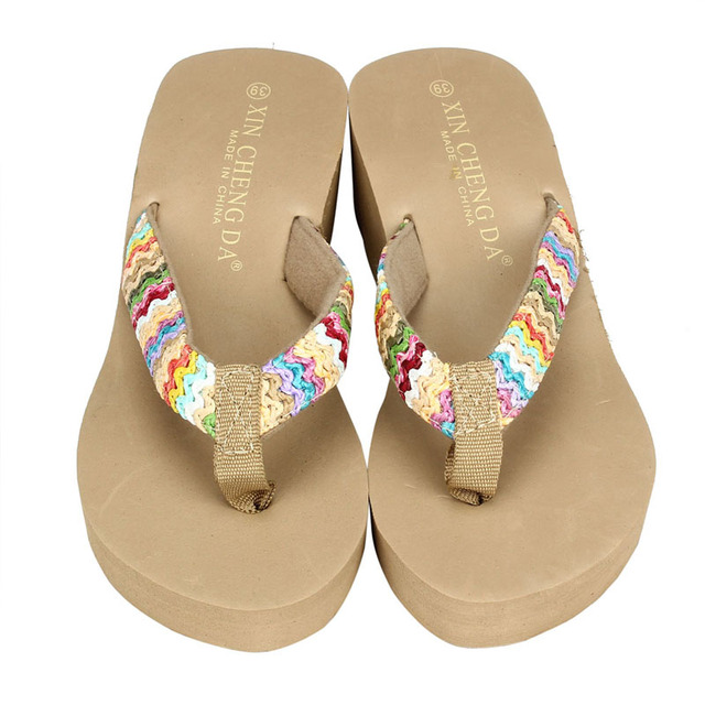 a4f1f2fc81e02 Summer Platform Sandals Beach Shoes Female Med Heels Shoes Flat Wedge Patch Flip  Flops Lady Slippers For Women Indoor Outdoor