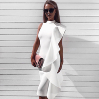2017 Newest Summer Dress Women Celebrity Party Sleeveless One Shoulder Ruffles Sexy Fashion Dress Women Wholesale
