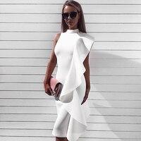 2018 Newest Spring Dress Women Celebrity Party Sleeveless One Shoulder Ruffles Sexy Fashion Dress Women Wholesale Vestidos